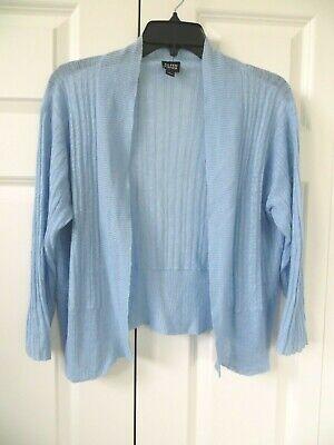 Eileen Fisher Knit Open Cardigan Blue Linen Size M