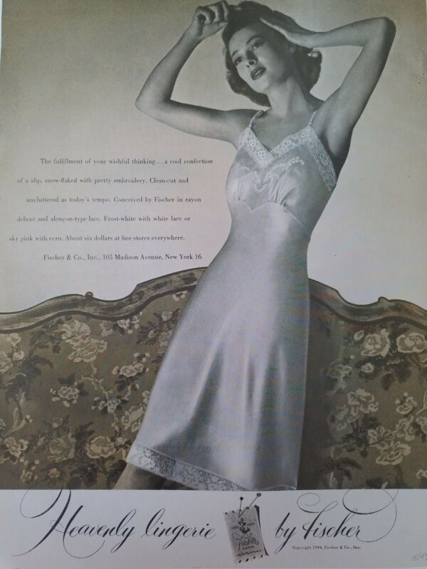 1944 womens Heavenly lingerie by Fischer vintage Frost White slip ad
