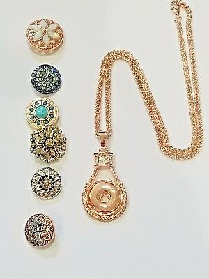 "Rose Gold Snap Jewelry Fits Ginger Snap 20"" 2' ext NECKLACE"