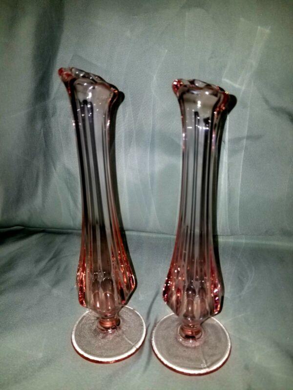 Gorgeous Vintage Rose Pink Depression Glass Swung Glass Bud Vase