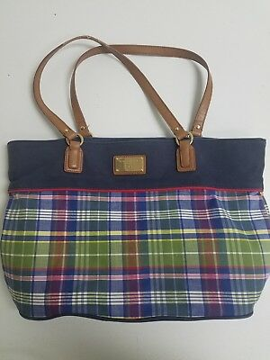 Tommy Hilfiger Women's Blue Plaid Fabric Large Tote Handbag, 17