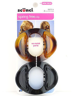 SCUNCI SPRING FREE NO METAL HAIR CLIP - TORTOISE/BLACK - 2 P