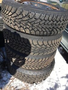 GoodYear Nordic 195-65-15 Winter Tires with Rims for sale.