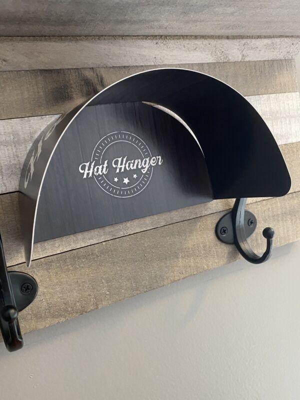 Hidden Hat Hangers -10 Pack - Black Barnwood - Holder Rack Hook Wall Display