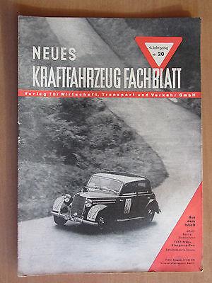 KFZ Zeitschrift v. 1950 Neues Kraftfahrzeug Fachblatt Test NSU Fox ADAC Werbung