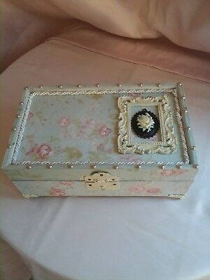 Shabby chic obtuse jewelry box covered in beautiful blue shabby chic paper exc.