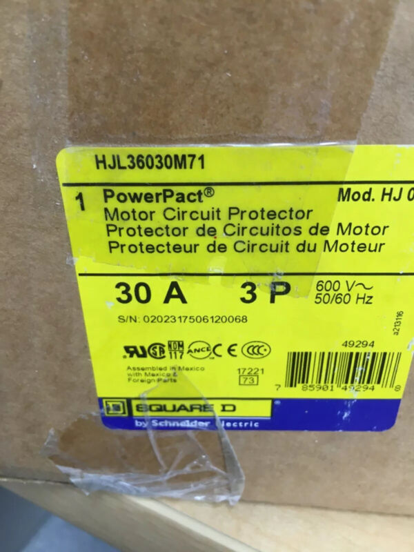 HJL36030M71 Square D motor control breaker new