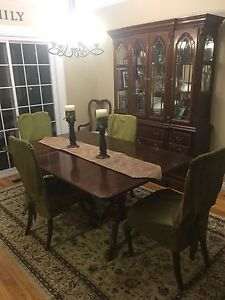 MUST GO!: Solid wood dining table, 6 chairs, buffet and hutch
