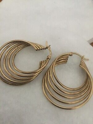 9ct Gold Ladies Multi Hoop Earrings, used for sale  Shipping to Nigeria