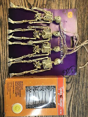 2 pc Halloween Decorations skull lights & skeleton garland