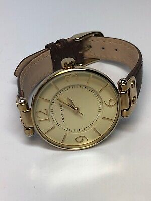 Anne Klein Ladies Quartz Watch GOLD TONE LEATHER BAND