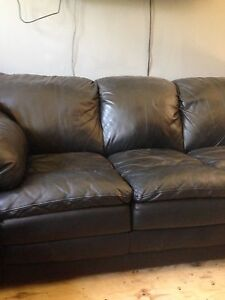 2 full size leather sofas couch