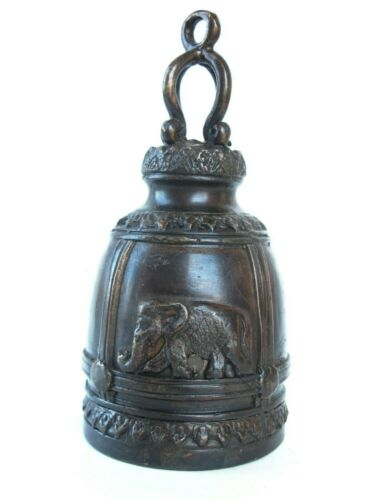 "Thai Temple Bell - Meditation Metal Bronze Buddhist Antique Elephant Bell 5.5"""