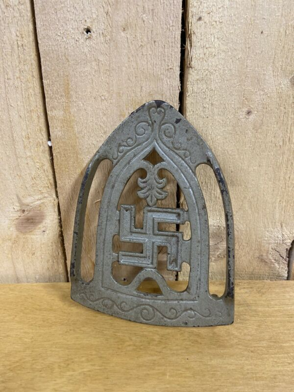 Antique 1900s Good Luck Symbol Swastika Whirling Log Sad Iron Trivet