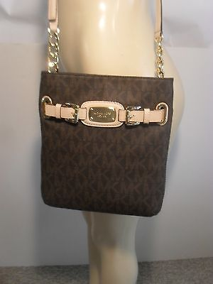 NWT Michael Kors Hamilton Brown Signature Crossbody PVC Bag Handbag Purse