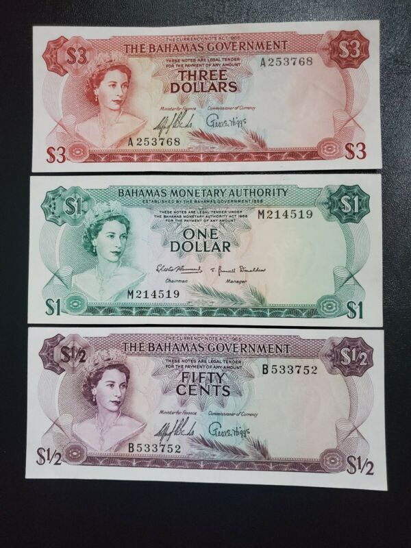 1965 68 Bahamas Three Bank Notes