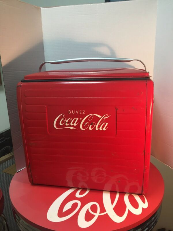 VINTAGE ORIGINAL BUVEZ COCA COLA STEEL COOLER WITH TRAY VERY RARE!!