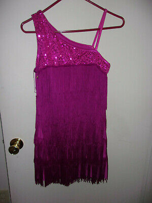 Pink Dress Costumes (WOMAN'S HALLOWEEN CHARLESTON FLAPPER PINK DRESS COSTUME SIZE LARGE FRINGE)