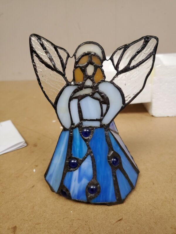 TIFFANY STYLE STAINED GLASS WIRELESS LED ACCENT ANGEL LAMP W TIMER