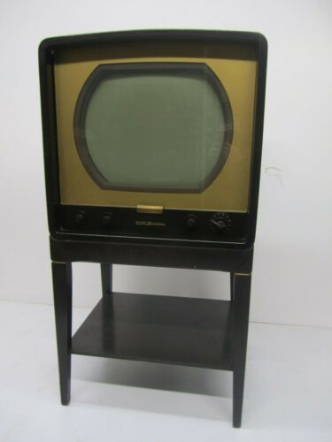 Vtg 1950s RCA Victor 6-T-53 6T53 Newport Metal Tube Television TV & Stand As Is