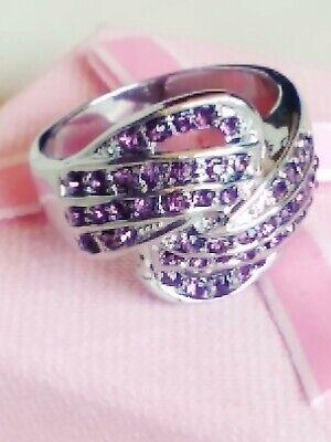 Anillo circonitas rosas amatista para mujer talla 7 usa con oro blanco...