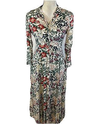 Zara Woman Women's Multi-Color Floral 3/4 Sleeve Shirt Dress Sz XS
