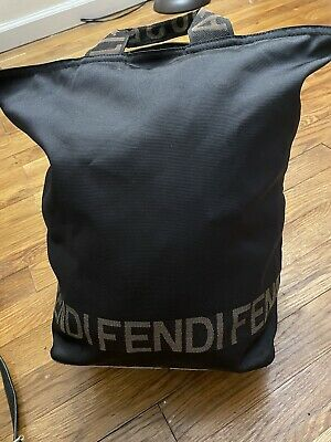 Fendi Vintage Shoulder Bag Handbag Logo Nylon Canvas Black Authentic