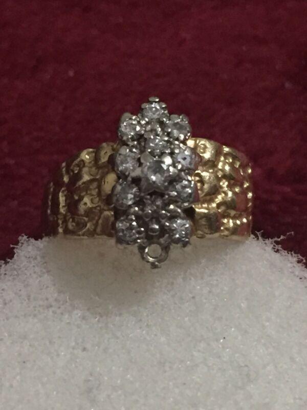 14kt Yellow Gold Diamond Ring Fix / Scrap / Wear Nugget Design