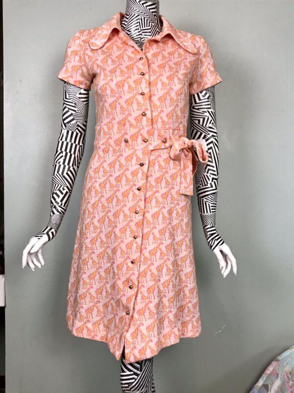 Vtg 60s Mod Pink Orange Sherbet Knit Giraffe Print Shift Dress That Girl Miami S