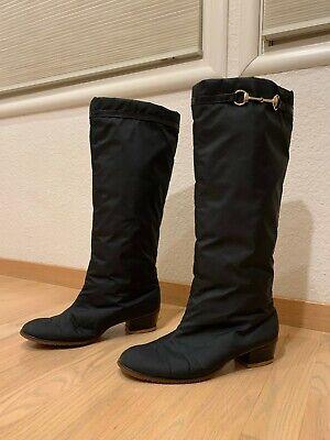 VTG Gucci Knee-high Heeled Fur Snow Boots Black w/ Gold Horsebit Size 39 (US 9)