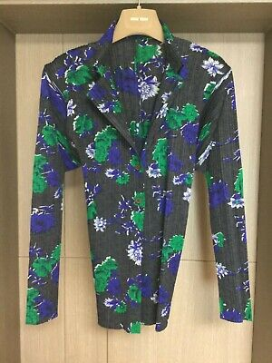 Pleats Please Issey Miyake Navy Green Cardigan Size 3
