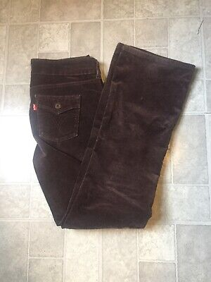 Dark Brown Soft Stretch Corduroy Levis 526 Slender Boot Cut Jeans - Size 6 -