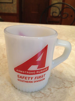 Fire King Milk Glass Vintage Advertising Mug ARMSTRONG RUBBER Safety First Award Glass Flame Award