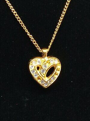 60s -70s Jewelry – Necklaces, Earrings, Rings, Bracelets Christian Dior Authentic Gold Rhinestone Heart Necklace Vintage 1960's-70's $99.99 AT vintagedancer.com