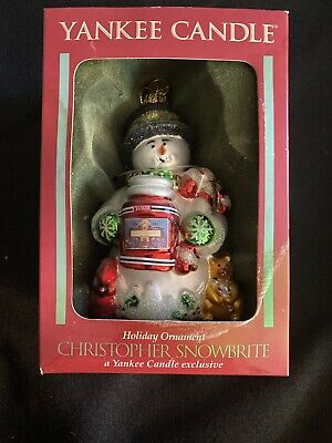 YANKEE CANDLE Christopher Snowbrite Snowman Blown Glass Ornament Margaret Cobane
