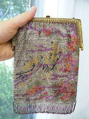 "1920's BEADED HANDBAG PURSE with two yellow birds ""made in France"" tag inside"