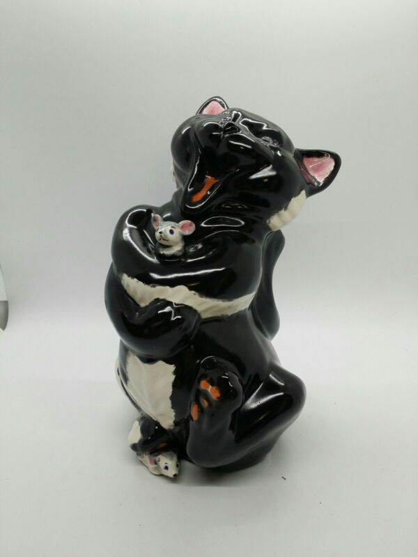 Vintage 1973 Happy Black Cat With Mice Halloween 9 Inches Tall