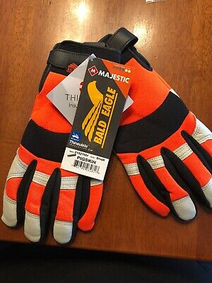 Bald Eagle Mechanics Style Pigskin Gloves Leather Work Riding 2152 Size Small
