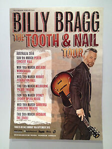 BILLY-BRAGG-2014-Australian-Tour-Poster-A2-Tooth-Nail-Mr-Love-Justice-NEW