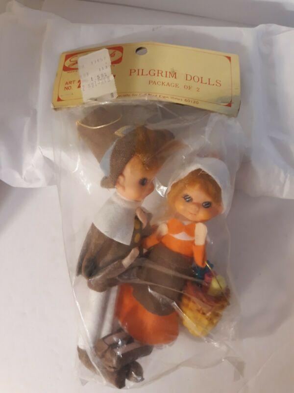 Vtg NOS Lee Wards Thanksgiving Pilgrim Pixie Dolls Poseable Japan Sealed Holiday
