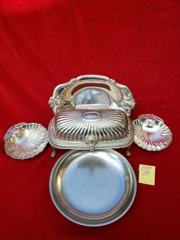 Vintage Ornate Silver Plate Covered Butter Dish w Tray