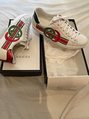100% Authentic Gucci Ace GG Stripe Trainers UK 12