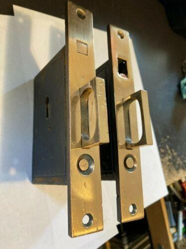 SET PAIR ANTIQUE ARTS CRAFT DECO VICTORIAN BRASS POCKET BARN DOOR MORTISE LOCK
