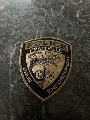 """Prattville AL Drug Task Force Iron On Patch Logo 4"""" Jacket Rare Vtg Logo Subdued"""