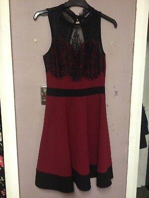 Boohoo Black/Berry Lace Trim Party/Xmas/Occasion Skater Dress Size 10 Berry Trim