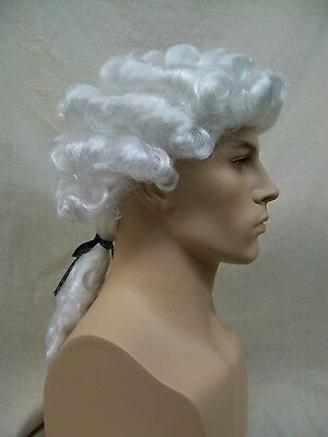 Mens White Colonial Wig President Revolutionary Founding Father Judge Court King (King Wig)