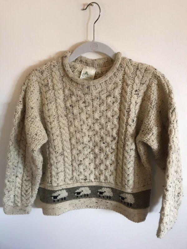 Aran Country Ireland Wool Sweater Boy/Girl 6 Oatmeal Cable Knit Sheep