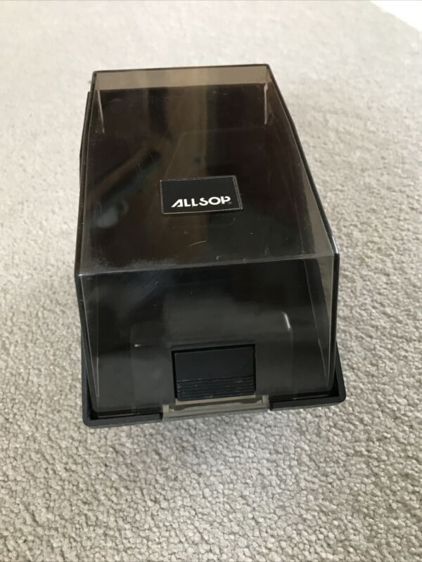 "Vintage Allsop 3.5"" Floppy Disk Storage Box Case Holder Organizer Plastic Black"
