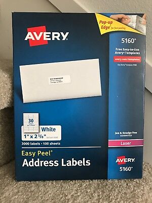Avery Easy Peel White Address Labels 5160 100sheets 30 Each 3000 Labels Blank