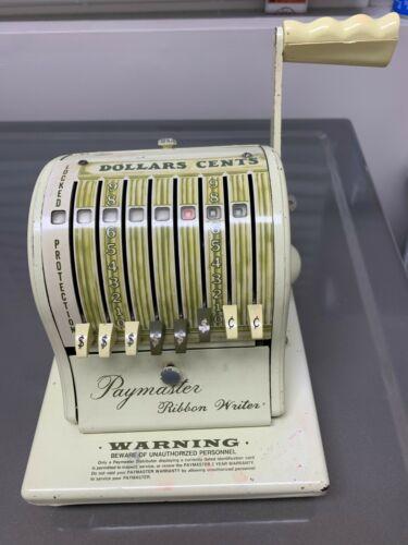 Vintage Paymaster Ribbon Writer Series 8000 Check Writer With Key